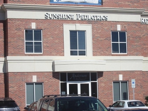 Front of building for pediatric office in Rock Hill SC Sunshine Pediatrics